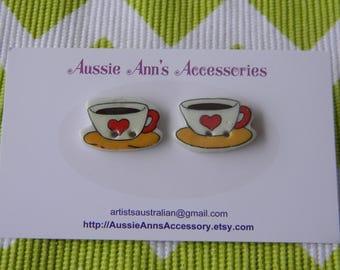 Vintage Tea Cups - Stud Earrings