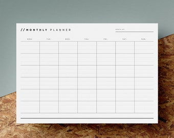 Blank Monthly Planner Printable | Any Month Calendar | Monthly Overview | Minimalist | Black White | A4 | US Letter | Instant Download