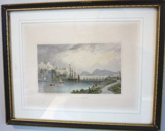 "Antique Framed Line Engraving ""Caermarthen"" (Carmarthen, West Wales) Wall Hanging Picture - supplied by Olwen Capadoc Evans"