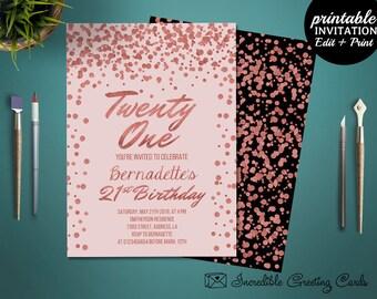 Printable Rose Gold 21st Birthday Invitation Template. Girl Birthday Invitation. Printable Twenty One Girl Birthday Invitation Template.