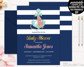 Navy and Gold Nautical Baby Shower Invitation Template, Printable Maritime Invite, Sea Anchor Rose DIY PDF PSD Digital Download Girl