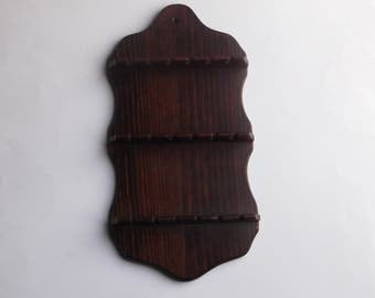 Wooden 18 Souvenier Spoon Rack Shelf Vintage