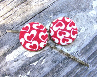 Heart hair pins Valentine's hair pins Button hair pins Fabric button pins Valentine's barrette Teen Valentine's Pinup Girl hair accessories