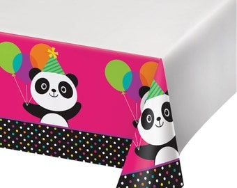 PANDA-MONIUM TABLECOVER Panda Bear Birthday Party Supplies Buffet Tableware Tablecloth