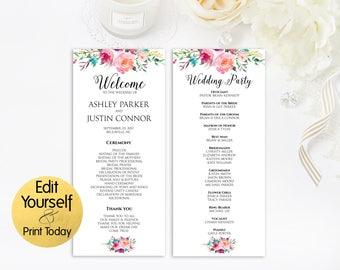 Wedding Program Template, Wedding Program Printable, Editable Wedding Program, Wedding Ceremony Program, Floral Wedding Program Template