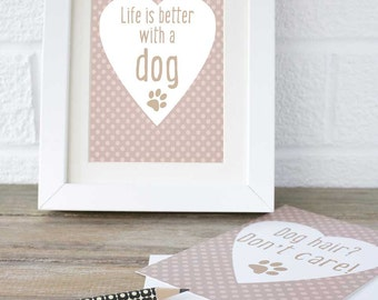 Dog quote gift, dog owner quote gift, gift for wife ideas, nice gift for sister, pink print, pink dog art, dog gifts, dog gift ideas