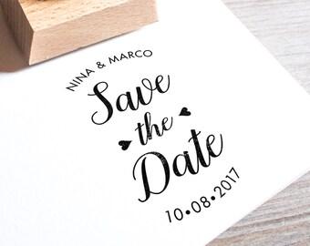 Save the Date Stamp • Wedding monogram • Wedding logo • DIY wedding • Wood stamp which a handle