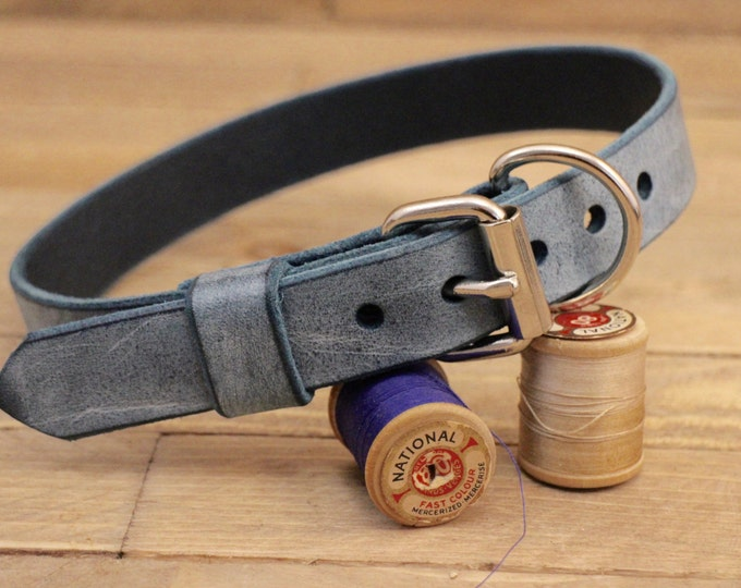 Collar, Classic collar, Cow leather collar, Cloudy sky colour dog collar, Handmade collar, Dog collar, Minimal collar, Sturdy collar.