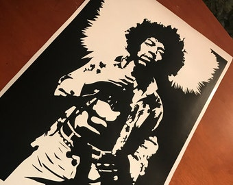 Jimi Hendrix Decal - Rock Art, Jimi Hendrix Poster, Vinyl Wall Decal, Jimmy Hendrix