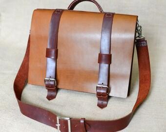 Men's Leather Bag,Briefcase,Shoulder Bag,Messenger Bag Distressed,Rugged,Rustic,Vintage Laptop,Mens Leather Briefcase,Light Brown