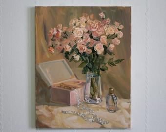Peach Romantic art painting Still life oil paintings Gift for bride Soft rose art Original oil painting Wedding gift Home decor art Wall Art