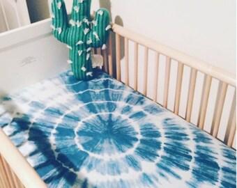 Indigo Shibori Crib Sheet