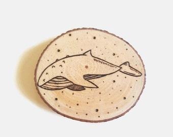 Wooden Whale Magnet - Wood Slice, Nautical Fridge Magnet, Whale Art, Nautical Art, Wooden Magnet
