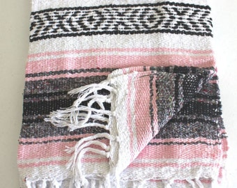 Mexican Throw Blanket - Light Pink Aztec Design