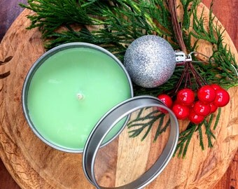 Christmas Tree Scented Premium Natural Soy Wax Container Candle In Medium Clear Lid Metal Travel Tin - 6oz - 100g