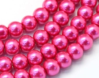 "1 Strand (31"") Round Glass Pearl Beads 8mm - Fushcia (B162c)"