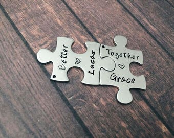 Jigsaw puzzle piece keychain better together - Couple gift matching set keyring - personalized puzzle, couple set - gifts for her and him