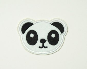 Panda Head  Embroidered Iron On Applique Patch Sew-on