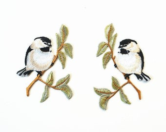 Set of 2 Bird Embroidered Iron On Patch DIY Sew-on Applique Black-capped Chickadees
