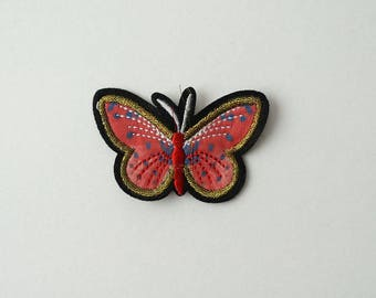 Gold Trim Pink Butterfly With blue spot Embroidered  Sew On Clothes Jacket Patch Sew-on Applique