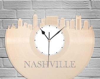 Nashville Skyline - Nashville Art Clock,  Nashville Wall Art,  Nashville Clock, Cityscape Clock, Vinyl Record Clock,  Unique Wall Clock
