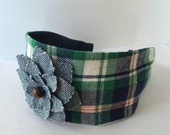 Green Plaid Fabric Headband, Girls Headband, Adult Headband, Womens Headband, Wide Fabric Headband, Hairband Turban, Teen Headband