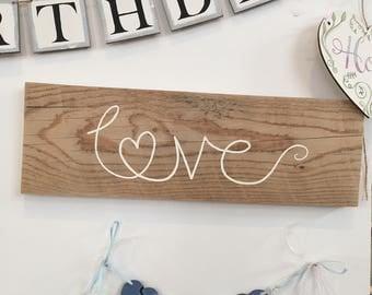 Wedding sign, Love sign, wooden sign, handpainted sign using reclaimed wood.