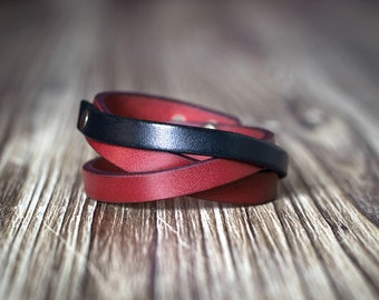 Minimalist red and black contrast color leather bracelet - Women's bracelet - Gift for women - red leather bracelet - special color