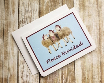 Funny Christmas Card, Funny Holiday Card, Sheep Card, Feliz Navidad Card, Fleece Navidad Card, Christmas Puns, Funny Sheep Card, Sheep