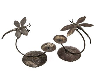 Steel Dragonfly Candle Holders
