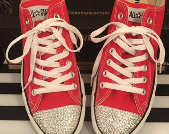Adults Red Swarovski Crystal Converse