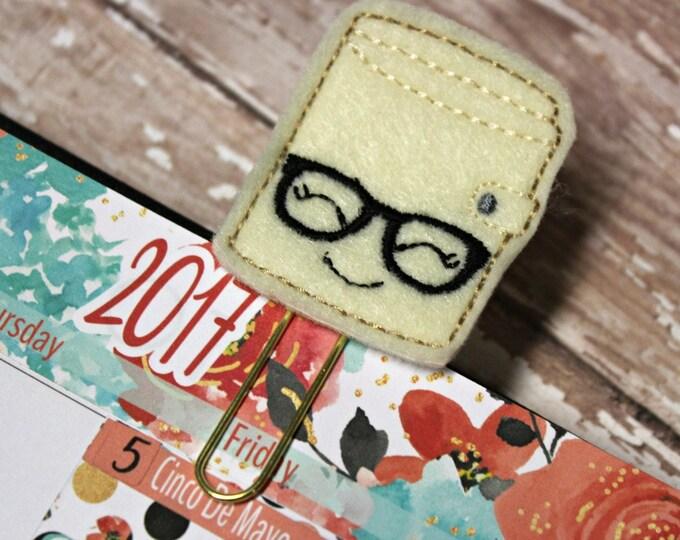 Planner Clip - Planner Bookmark - Cream Planner Planner clip - Planner clip with glasses - Felt Planner Clip - Felt Bookmark - Feltie clip