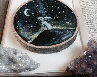 hare painting // acrylic // eco wood // night sky // luna hare // lunar // acrylic painting // Mystic painting
