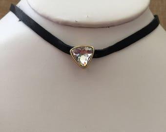 Choker necklace, Clear rhinestones and black choker, Gypsy choker necklace