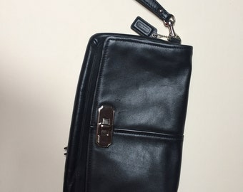 Authentic Coach leather clutch with wristlet