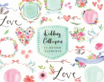 Wedding Flower Clipart Collection - Large clip art set perfect for wedding invitations and stationery