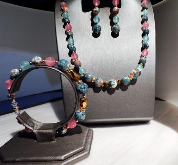 Blue and Pink Mosaic Wonder 3 pc jewelry suite