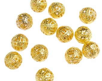 Filigree Beads, Gold Filigree Beads, 12mm Gold Beads, 12mm Filigree Beads, 12mm Beads, Gold Plated Beads, Large Gold Beads, Statement Beads,