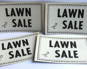 Vintage Lawn Sale Cardboard Sign Bird On It