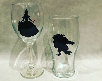Beauty and the Beast hand painted glasses