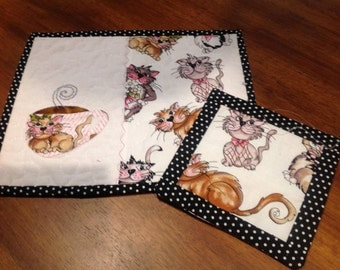 Set of 2 Cat Themed Mug Rugs