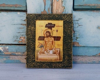 SALE,Miniature Icon, Miniature Art, God Wall Art, Greek Art, Orthodox Art, Wall Icon Art, God Worship, Prayer, Believer,Decoupage Icon Art