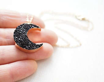 Black Druzy Moon Necklace Dainty Gold Chain Moon Crescent Necklace Gold Druzy Necklace Dark Side of the Moon Pendant Black Druzy Choker