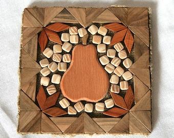 Wood trivet Wooden trivet Pear trivet Hot mat Pot holder Stand for hot Heat protection pad Trivet for hot  Eco stand Wood mat Stand hot Pear