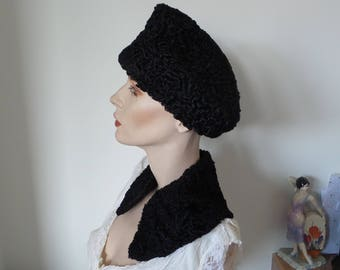 Harrods Black Persian Lamb Fur Hat and collar set 1940s