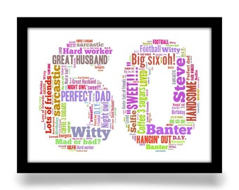 60th Birthday gift personalised word art A4 gloss print. Birthday age number created from your simple list of around 20 words.
