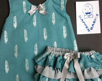 Cross Back Baby Dress with matching ruffle bum diaper cover