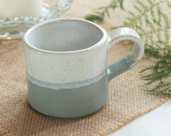 Handmade ceramic mug, pottery mug, two tone grey and white glaze, coffee or tea mug, handmade gift, housewarming gift, kitchen, dining