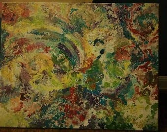 It's a trippy life - original acrylic painting on box canvas 16x20 abstract art
