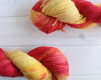 Iron Man: Avengers themed hand dyed 100% organic 4-ply wool yarn